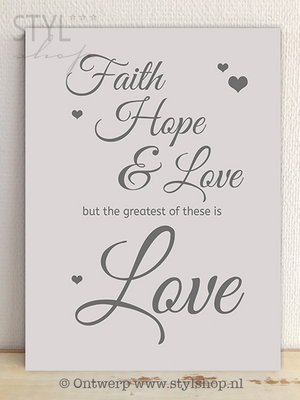 Tekstbord Faith hope and love