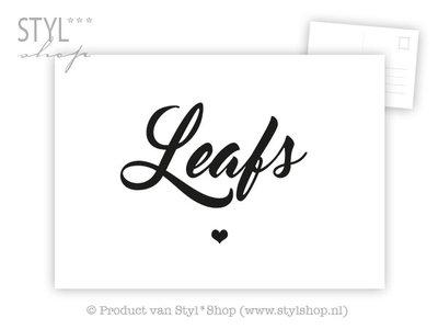 Ansichtkaart Leafs - Frysk Fries - zwart / wit