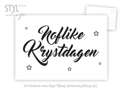 Ansichtkaart Noflike Krystdagen Frysk Fries - zwart / wit