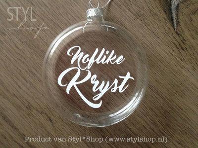 Glazen kerst hanger - kerstbal met Fryske tekst 'Noflike Kryst'
