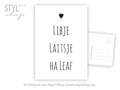 Ansichtkaart Libje Laitsje Ha leaf - Frysk Fries - zwart / wit