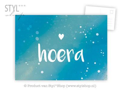 Ansichtkaart Hoera - kleur