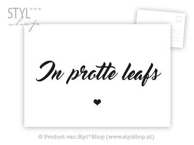 Ansichtkaart In protte Leafs - Frysk Fries - zwart / wit