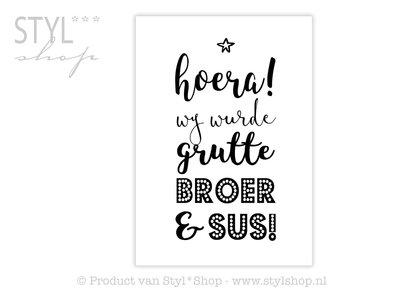 Poster Frysk Fries - Hoera - Wy wurde grutte broer en sus!