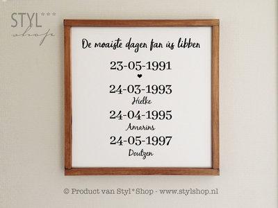 Tekstbord Frysk met houten lijst - de moaiste dagen fan ús libben