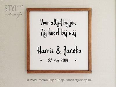 Tekstbord / huwelijkscadeau NL met houten lijst