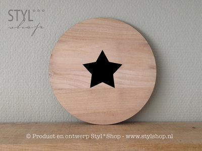 Muurcirkel hout ster