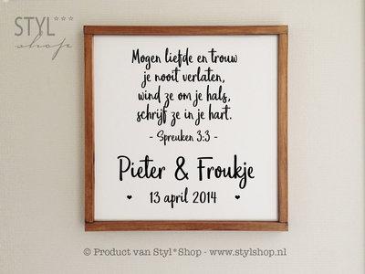 Tekstbord / huwelijkscadeau NL met houten lijst - Christelijk