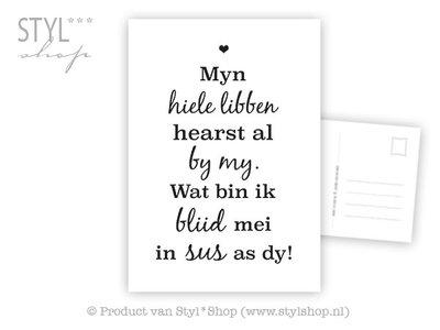 Ansichtkaart Myn hiele libben - sus - Frysk Fries - zwart / wit