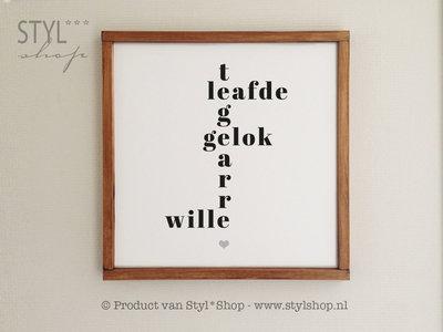 Tekstbord Frysk met houten lijst - Tegearre - Leafde - Gelok - Wille