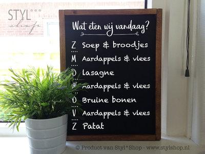 Krijtbord met houten lijst - Wat eten wij vandaag?
