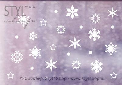 Raamsticker Sneeuw winter sneeuwvlokken - versie 1