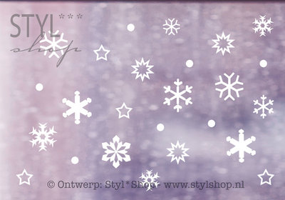 Raamsticker Sneeuw winter sneeuwvlokken - versie 2