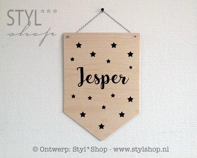 Houten banner met naam ster