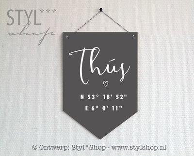 Houten banner -Frysk- Thús met coördinaten