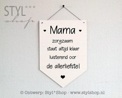 Houten banner - Mama - de allerliefste