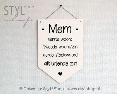 Houten banner -Frysk- Mem - met eigen steekwoorden