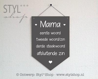 Houten banner - Mama - met eigen steekwoorden