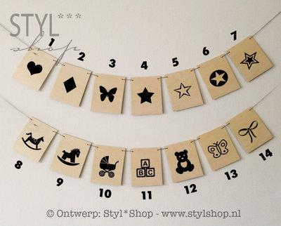 Houten vlaggetjes rechthoek - naamslinger - symbolen