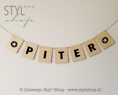 Houten vlaggetjes rechthoek - naamslinger - letters