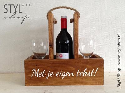 Wijnhouder - wijndrager - Met eigen tekst