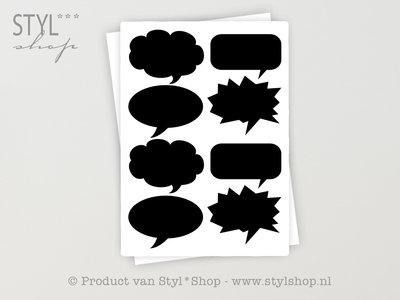 16 Krijtbord Schoolbord divers tekst ballon Sticker Etiket Label - 20