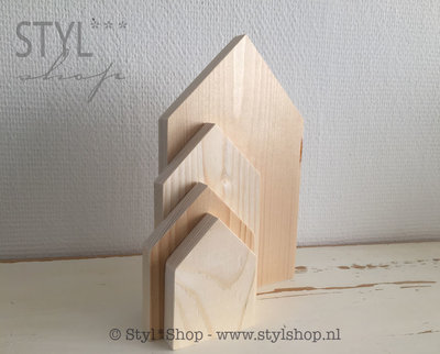 Set van 4 houten huisjes