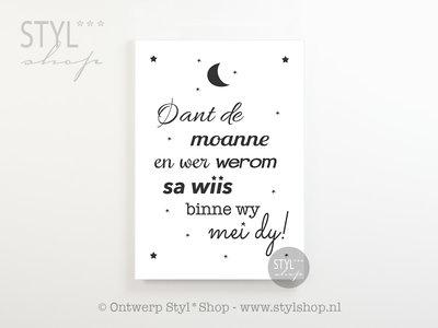 Poster A4 Oant de moanne en wer werom - Frysk - Fries - zwart / wit