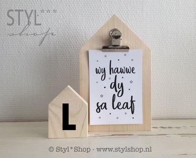 Houten huisje (S) met letter - L1