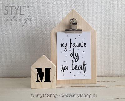 Houten huisje (S) met letter - L2