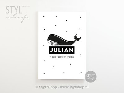 Poster kinderkamer walvis met naam en geboortedatum