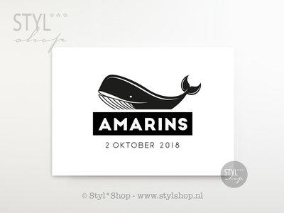 Poster kinderkamer walvis met naam en geboortedatum - liggend