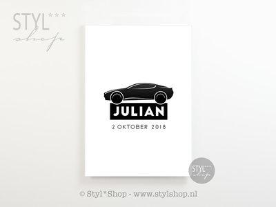 Poster kinderkamer auto met naam en geboortedatum