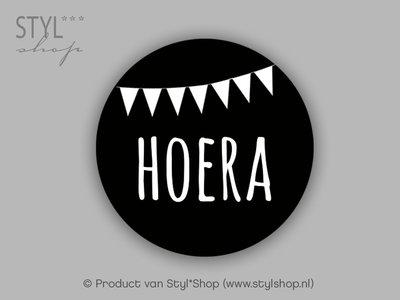 Sticker Hoera vlag 15 stuks