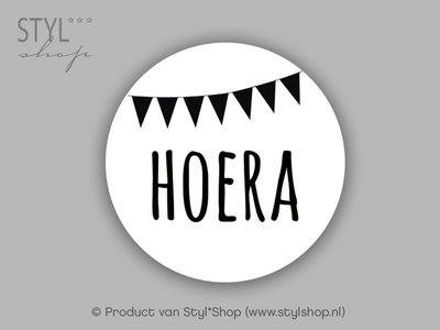 Sticker Hoera vlag wit 15 stuks