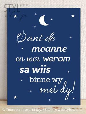 OUTLET - Tekstbord Oant de moanne en wer werom - Fries / Frysk