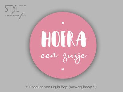 Sticker hoera een zusje roze 15 stuks