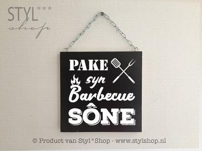 Tekstbord Pake syn barbecue sône