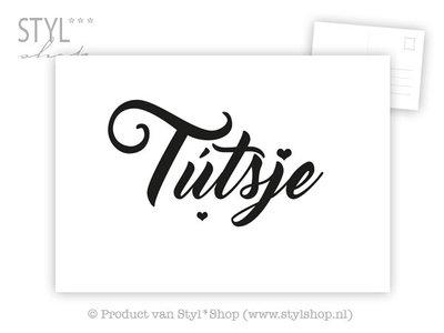 Ansichtkaart Tútsje - Frysk Fries - zwart / wit