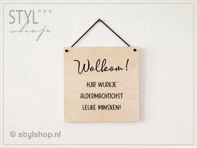 houten tekstbord fries werk wurk frysk