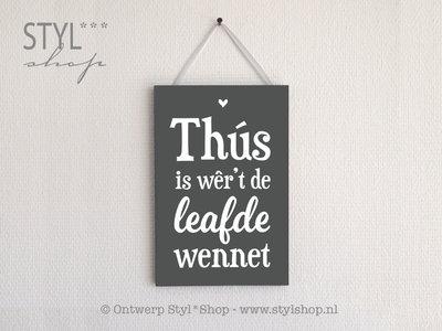 Tekstbord Frysk Fries A4 thus is wer't de leafde wennet