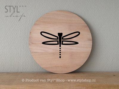 tekstbordje hout rond libelle