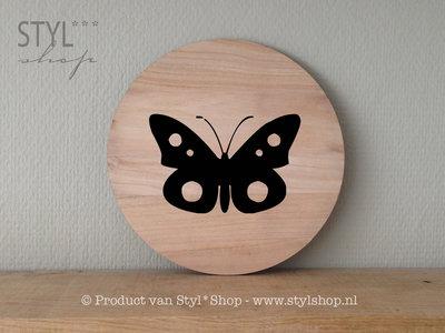 tekstbordje hout rond vlinder