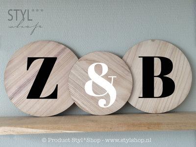 Tekstbordje hout rond letter alfabet