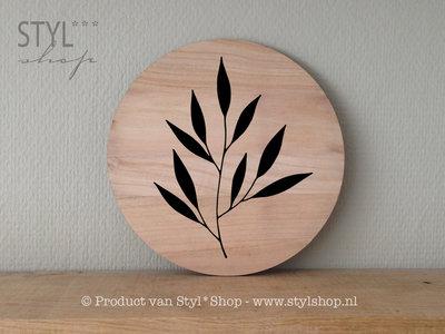 decoratiebord rond hout botanisch