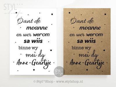 Poster Oant de moanne en wer werom met naam - Frysk - Fries - zwart / wit