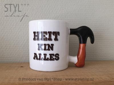Mok Frysk tekst zwart wit heitedei hamer